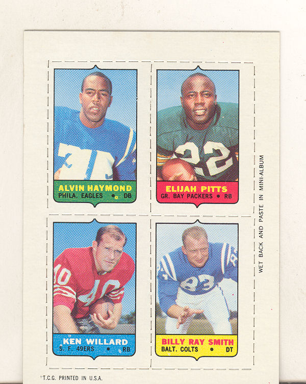 1969 Topps Four-in-One Inserts #20 Haymond/Pitts/B.R.Smith/Willard