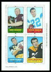 1969 Topps Four-in-One Inserts #30 Jurgensen/Bass/Martha/Parks