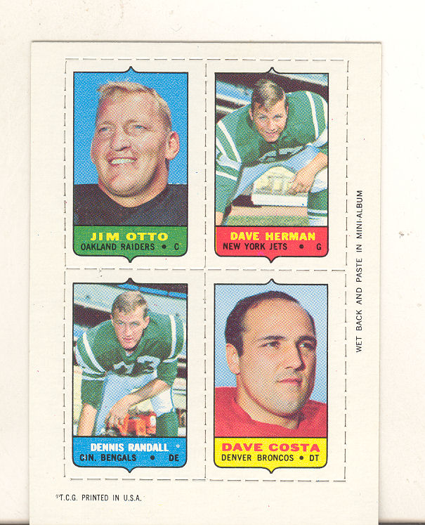 1969 Topps Four-in-One Inserts #43 Otto/Herman/Costa/Randall