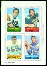 1969 Topps Four-in-One Inserts #58 Thomas/McCall/Morrall/Warwick
