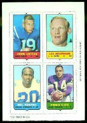 1969 Topps Four-in-One Inserts #60 Unitas/Josephson/Cox/Renfro