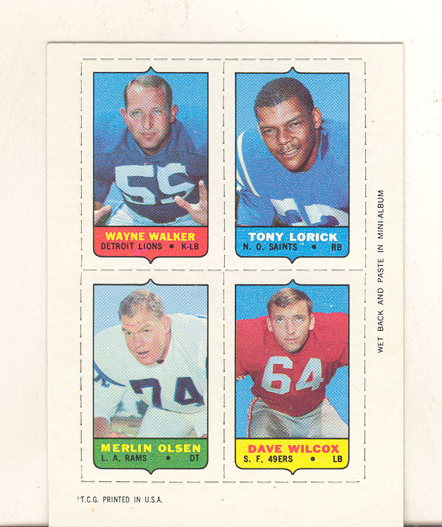 1969 Topps Four-in-One Inserts #61 W.Walker/Lorick/Wilcox/Olsen