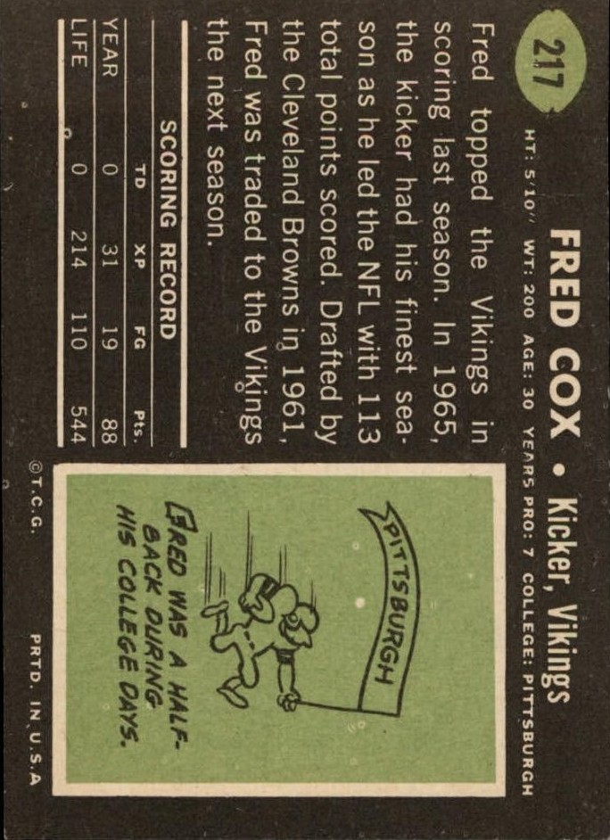 1969 Topps #217 Fred Cox