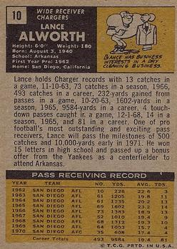 1971 Topps #10 Lance Alworth back image