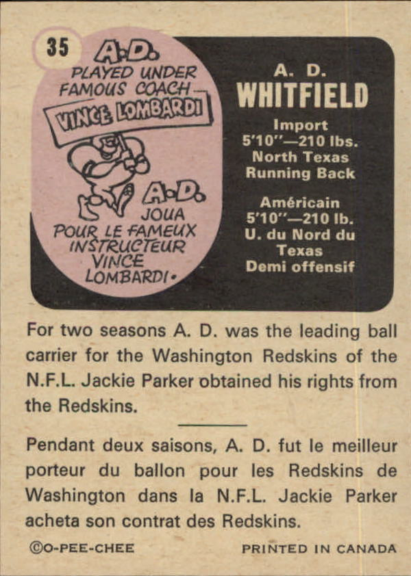 1971 O-Pee-Chee CFL #35 A.D. Whitfield