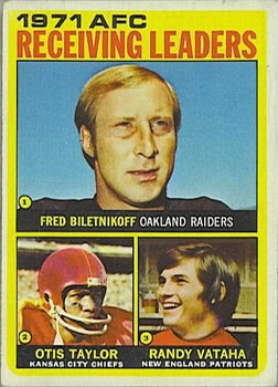 1972 Topps #5 AFC Receiving Leaders/Fred Biletnikoff/Otis Taylor/Randy Vataha