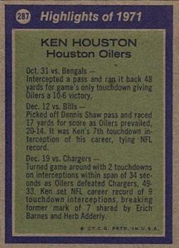 1972 Topps #287 Ken Houston AP back image