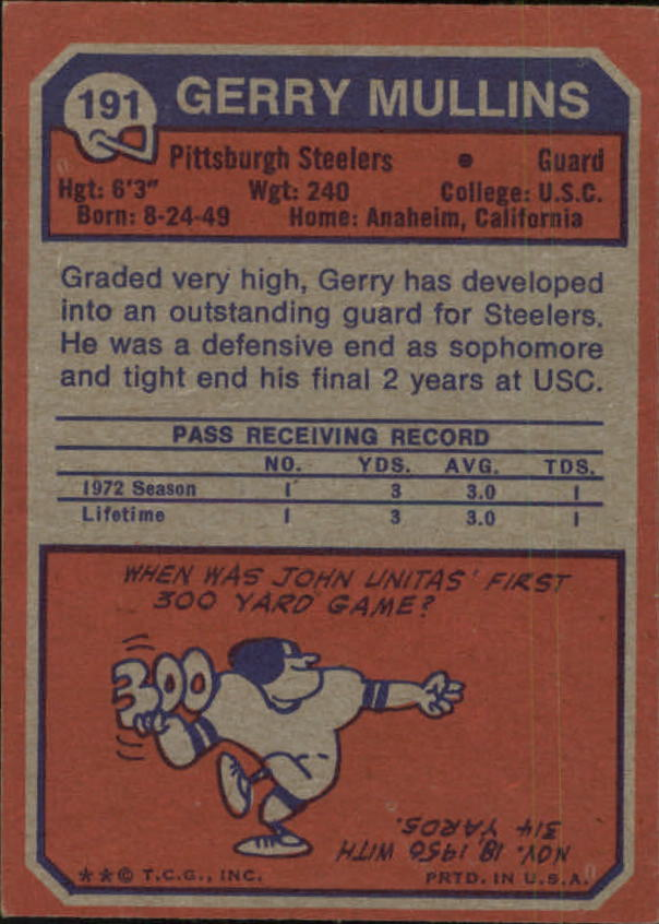 1973 Topps #191 Gerry Mullins RC back image
