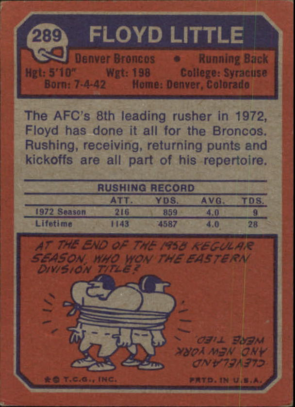 1973 Topps #289 Floyd Little back image