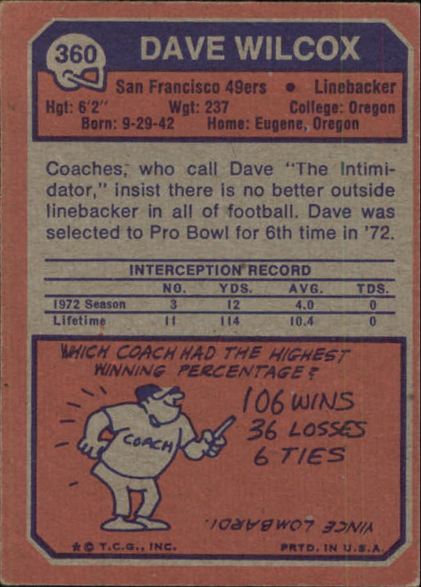 1973 Topps #360 Dave Wilcox back image