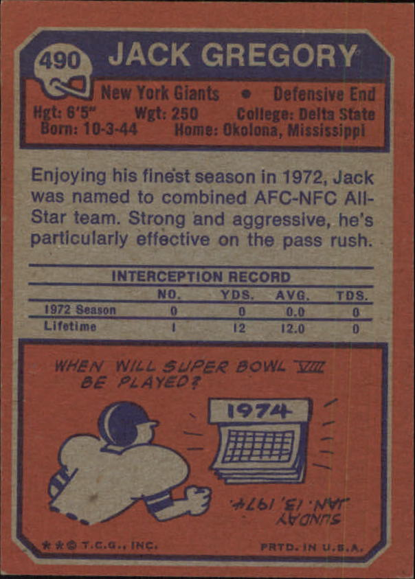1973 Topps #490 Jack Gregory RC