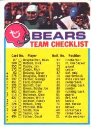 1973 Topps Team Checklists #4 Chicago Bears