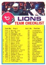 1973 Topps Team Checklists #9 Detroit Lions