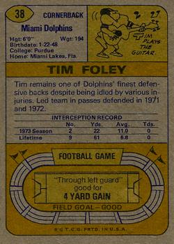 1974 Topps #38 Tim Foley back image