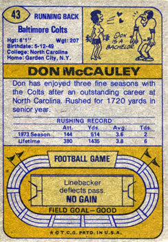 1974 Topps #43 Don McCauley back image