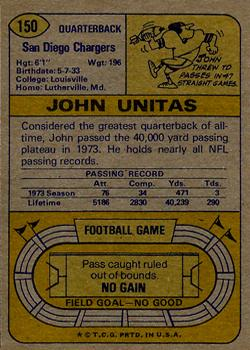 1974 Topps #150 Johnny Unitas back image