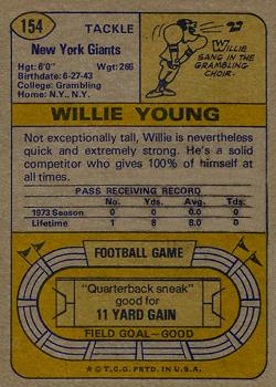 1974 Topps #154 Willie Young back image
