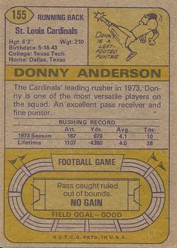 1974 Topps #155 Donny Anderson back image