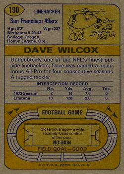 1974 Topps #190 Dave Wilcox back image