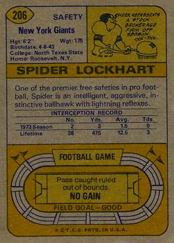 1974 Topps #206 Spider Lockhart back image