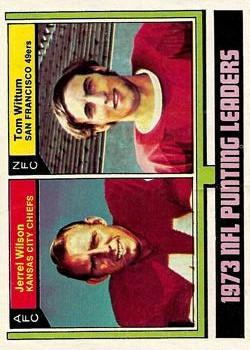 1974 Topps #333 Punting Leaders/Jerrel Wilson/Tom Wittum