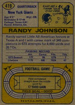 1974 Topps #419 Randy Johnson back image