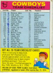 1974 Topps Team Checklists #7 Dallas Cowboys