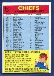 1974 Topps Team Checklists #12 Kansas City Chiefs