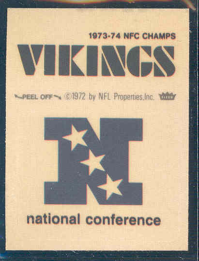 1974-75 Fleer Cloth Patches #57 NFC Champs Vikings/NFC Logo