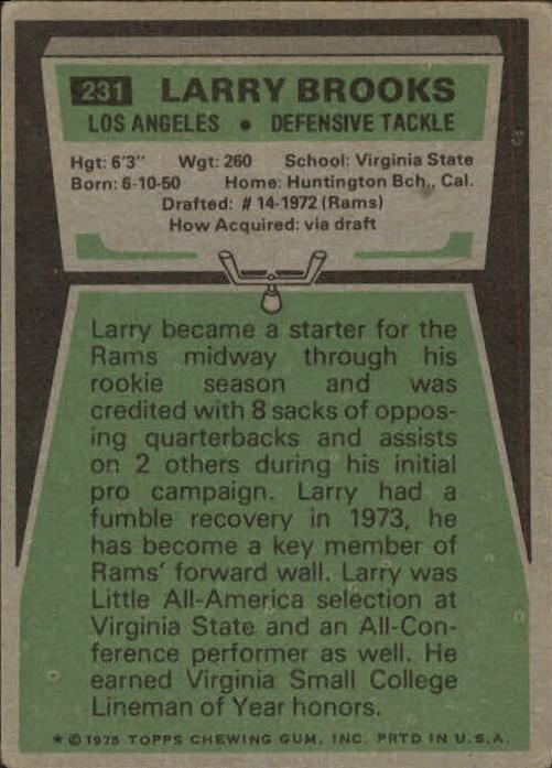 1975 Topps #231 Larry Brooks back image