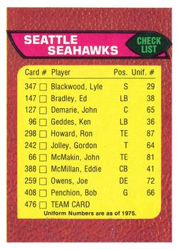1976 Topps #476 Seattle Seahawks CL