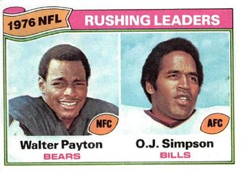 1977 Topps #3 Rushing Leaders/Walter Payton/O.J. Simpson