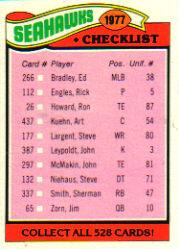 1977 Topps #226 Seattle Seahawks CL
