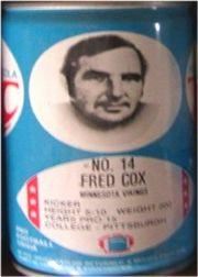 1977 RC Cola Cans #142 Fred Cox
