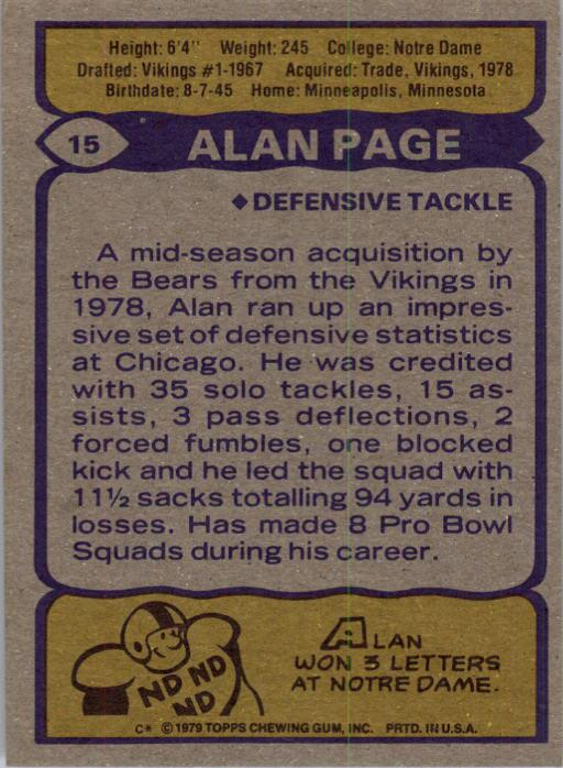 1979 Topps #15 Alan Page