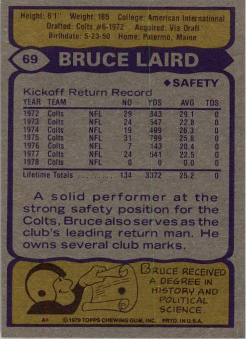 1979 Topps #69 Bruce Laird back image
