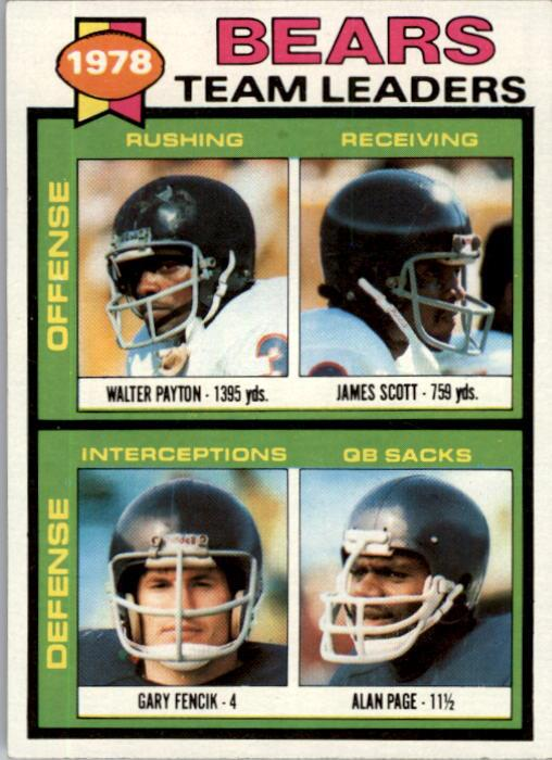 1979 Topps #132 Chicago Bears TL/Walter Payton/James Scott/Gary Fencik/Alan Page/(checklist back)