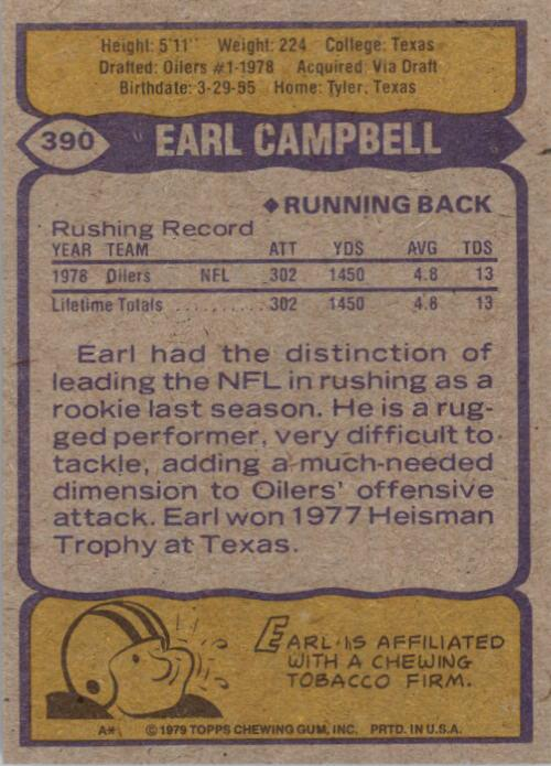 1979 Topps #390 Earl Campbell RC back image