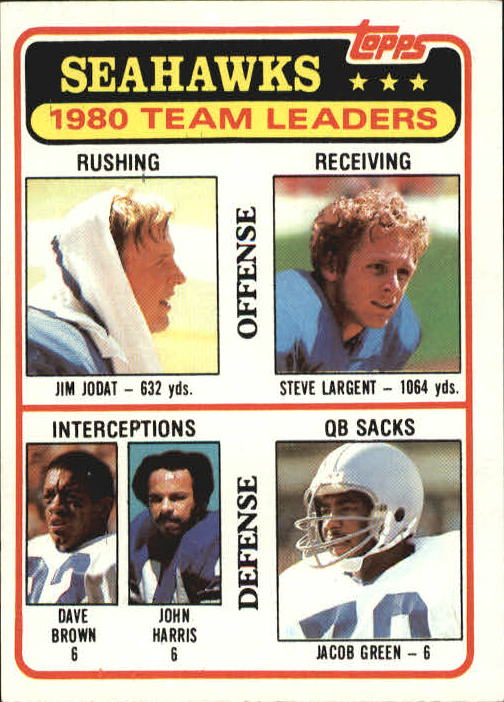 1981 Topps #19 Seattle Seahawks TL/Jim Jodat/Dave Brown/John Harris/Steve Largent/Jacob Green/(checklist back)