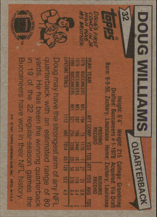 1981 Topps #32 Doug Williams back image