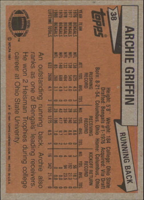 1981 Topps #38 Archie Griffin back image