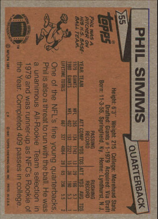 1981 Topps #55 Phil Simms back image
