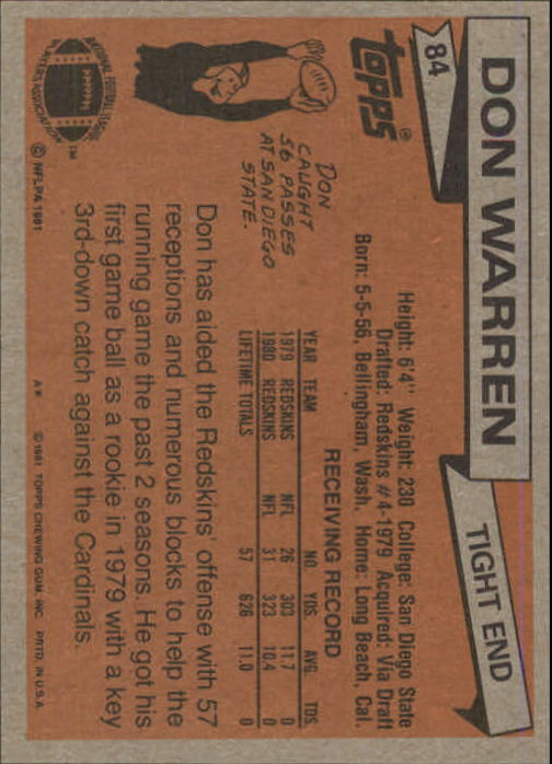 1981 Topps #84 Don Warren back image
