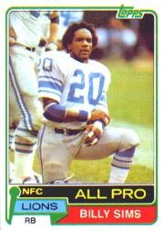 1981 Topps #100 Billy Sims RC