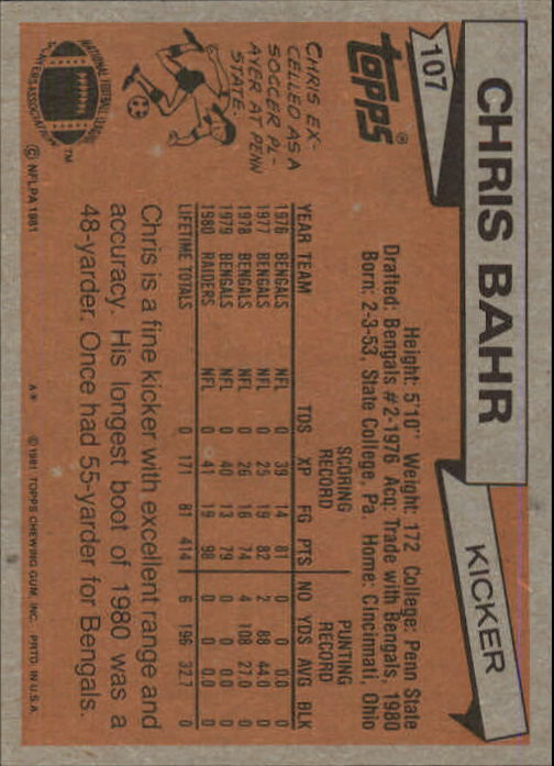 1981 Topps #107 Chris Bahr back image