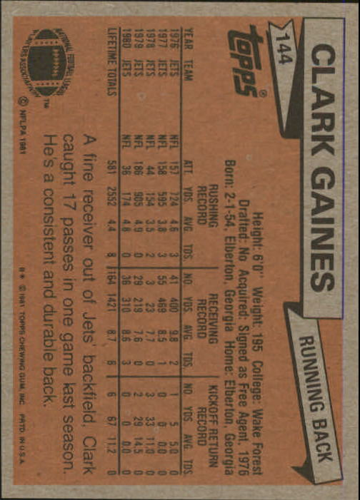 1981 Topps #144 Clark Gaines back image