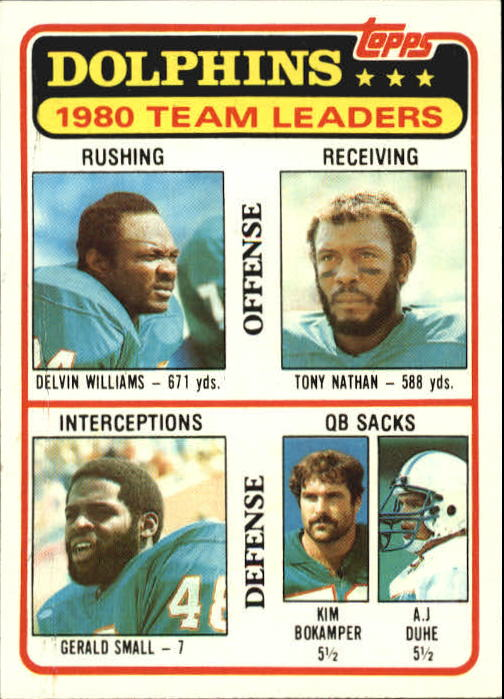 1981 Topps #197 Miami Dolphins TL/Delvin Williams/Tony Nathan/Gerald Small/Kim Bokamper/A.J. Duhe/(checklist back)
