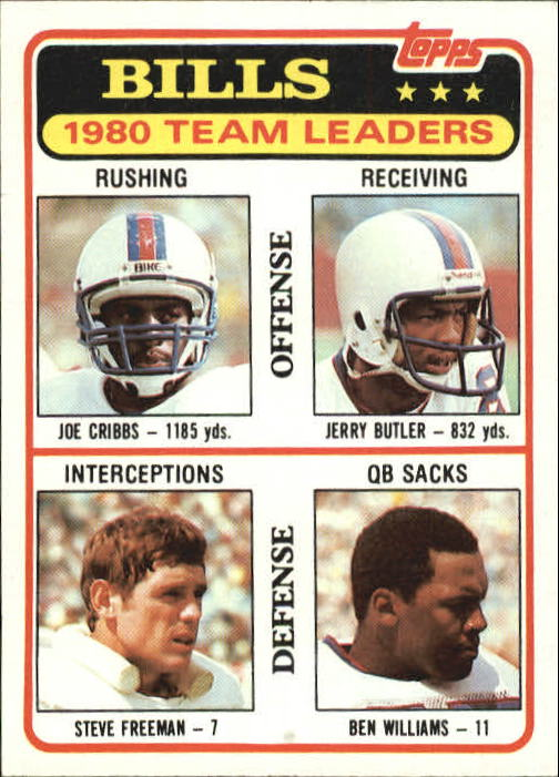 1981 Topps #226 Buffalo Bills TL/Joe Cribbs/Jerry Butler/Steve Freeman/Ben Williams/(checklist back)