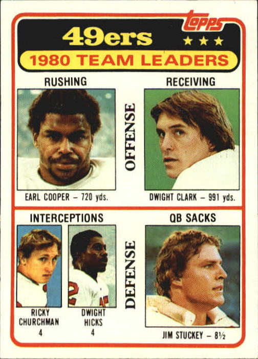 1981 Topps #319 San Francisco 49ers TL/Earl Cooper/Dwight Clark/Ricky Churchman/Dwight Hicks/Jim Stuckey/(checklist back)