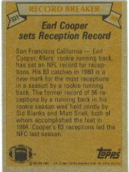 1981 Topps #331 Earl Cooper RB/Most Receptions/Running Back;/Season: Rookie back image